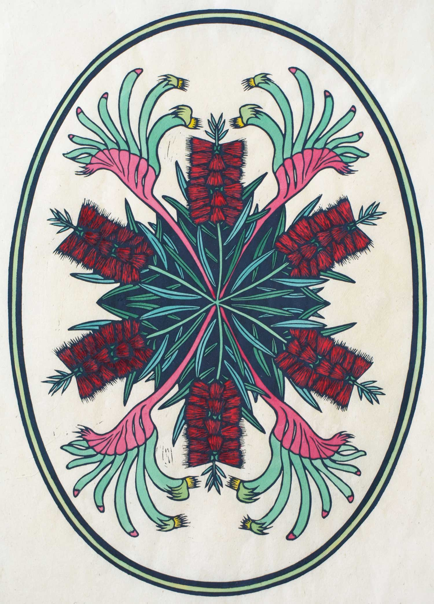 KANGAROO PAW & BOTTLE BRUSH  54 X 39 CM EDITION OF 50  HAND COLOURED LINOCUT ON HANDMADE JAPANESE PAPER  $1,050