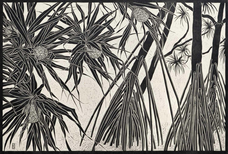 PANDANUS TREES  51 X 81 CM EDITION OF 50  LINOCUT ON HANDMADE JAPANESE PAPER  $1,150