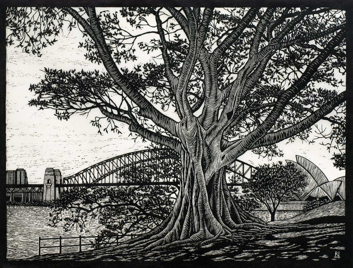 SYDNEY HARBOUR VIEW  42 X 55 CM, EDITION OF 50  LINOCUT ON HANDMADE JAPANESE PAPER  $1,000