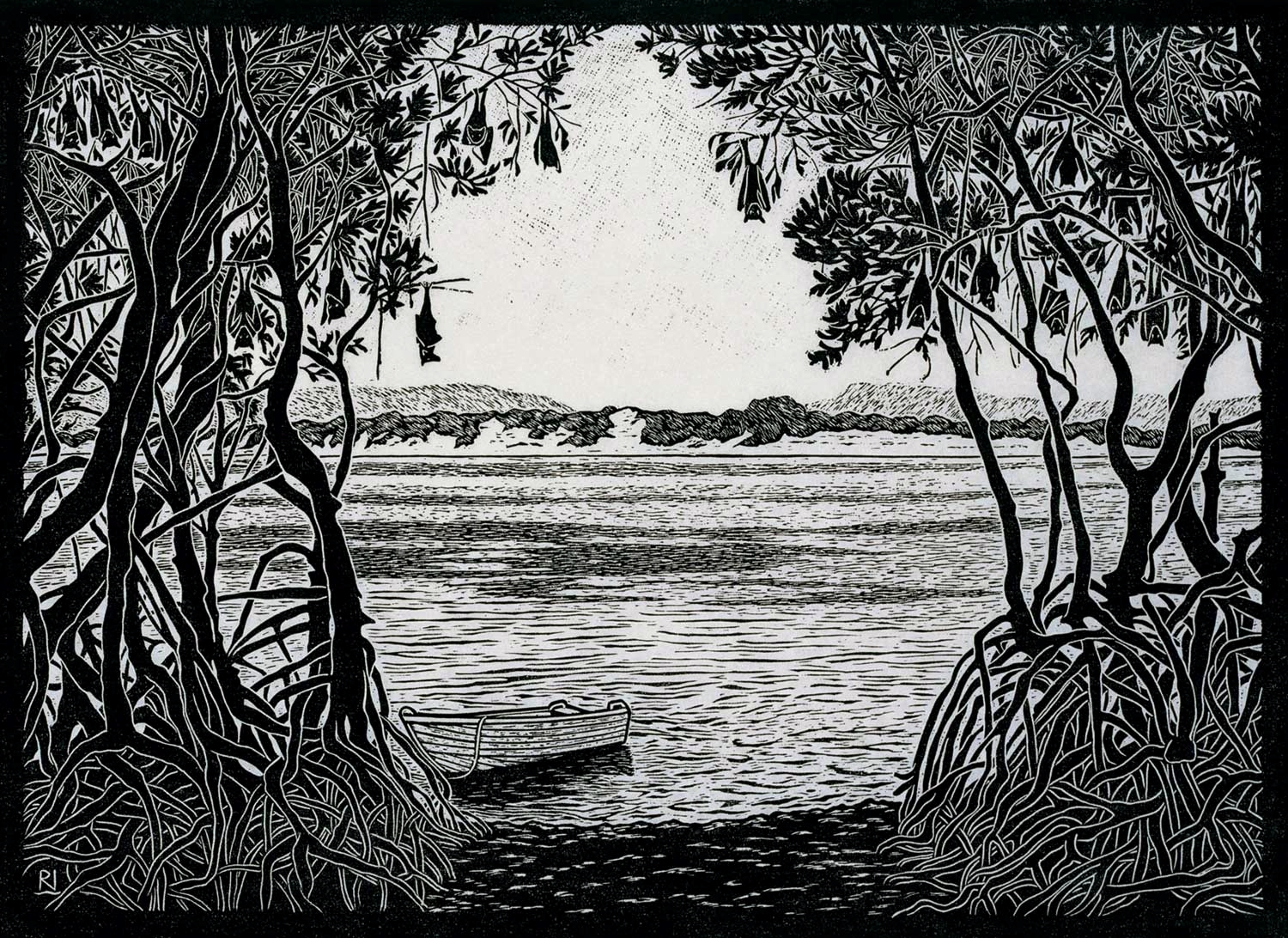 FLYING FOX CAMP ENDEAVOUR RIVER  40 X 54 CM, EDITION OF 50  LINOCUT ON HANDMADE JAPANESE PAPER  $950