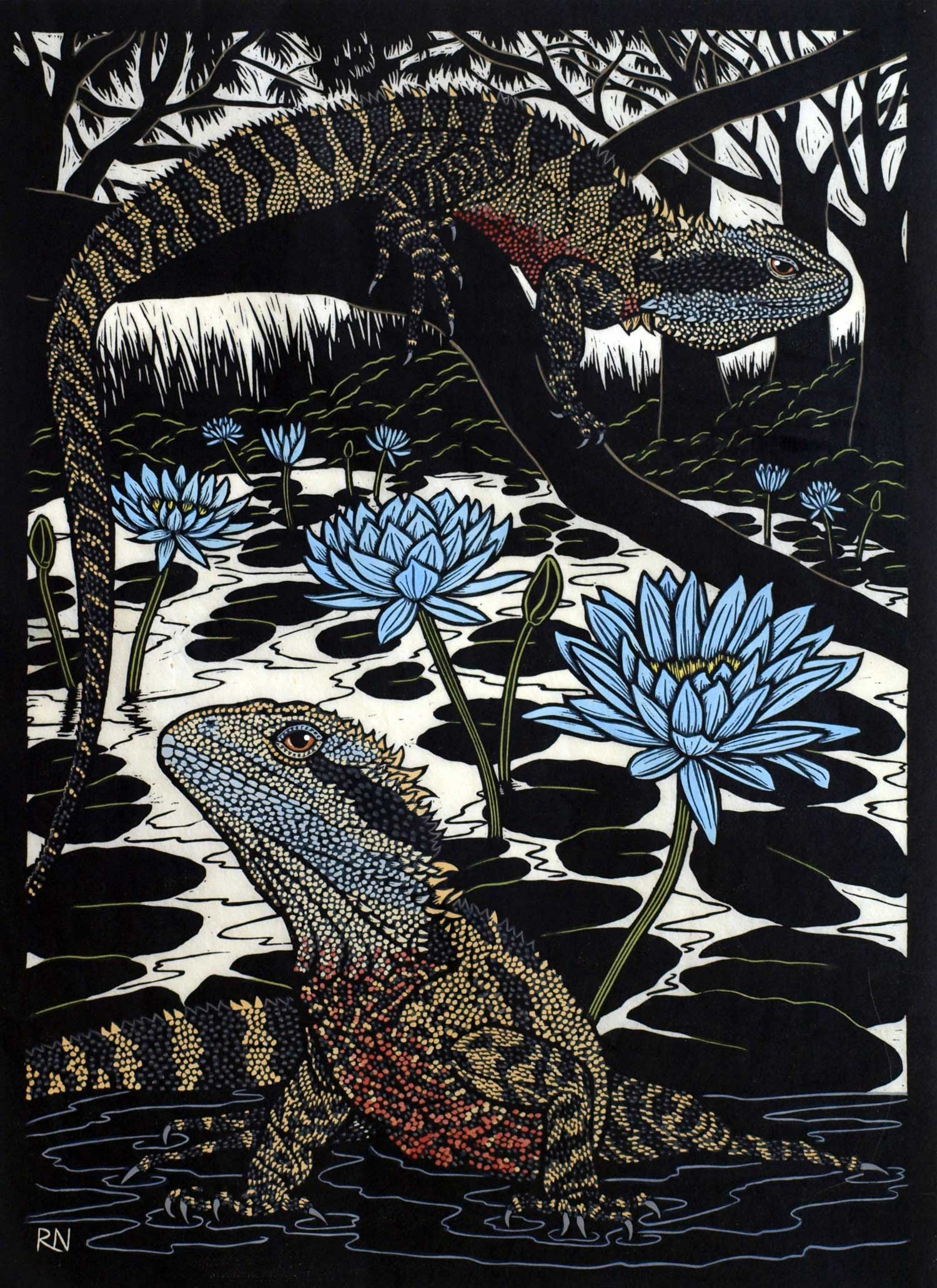 WATER DRAGON  49 X 35.5 CM, EDITION OF 50  HAND-COLOURED LINOCUT ON HANDMADE JAPANESE PAPER  $1,100
