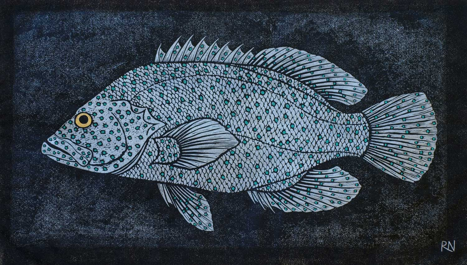 SHOAL IV  30 X 52.5 CM EDITION OF 50  HAND COLOURED LINOCUT ON HANDMADE JAPANESE PAPER  $850
