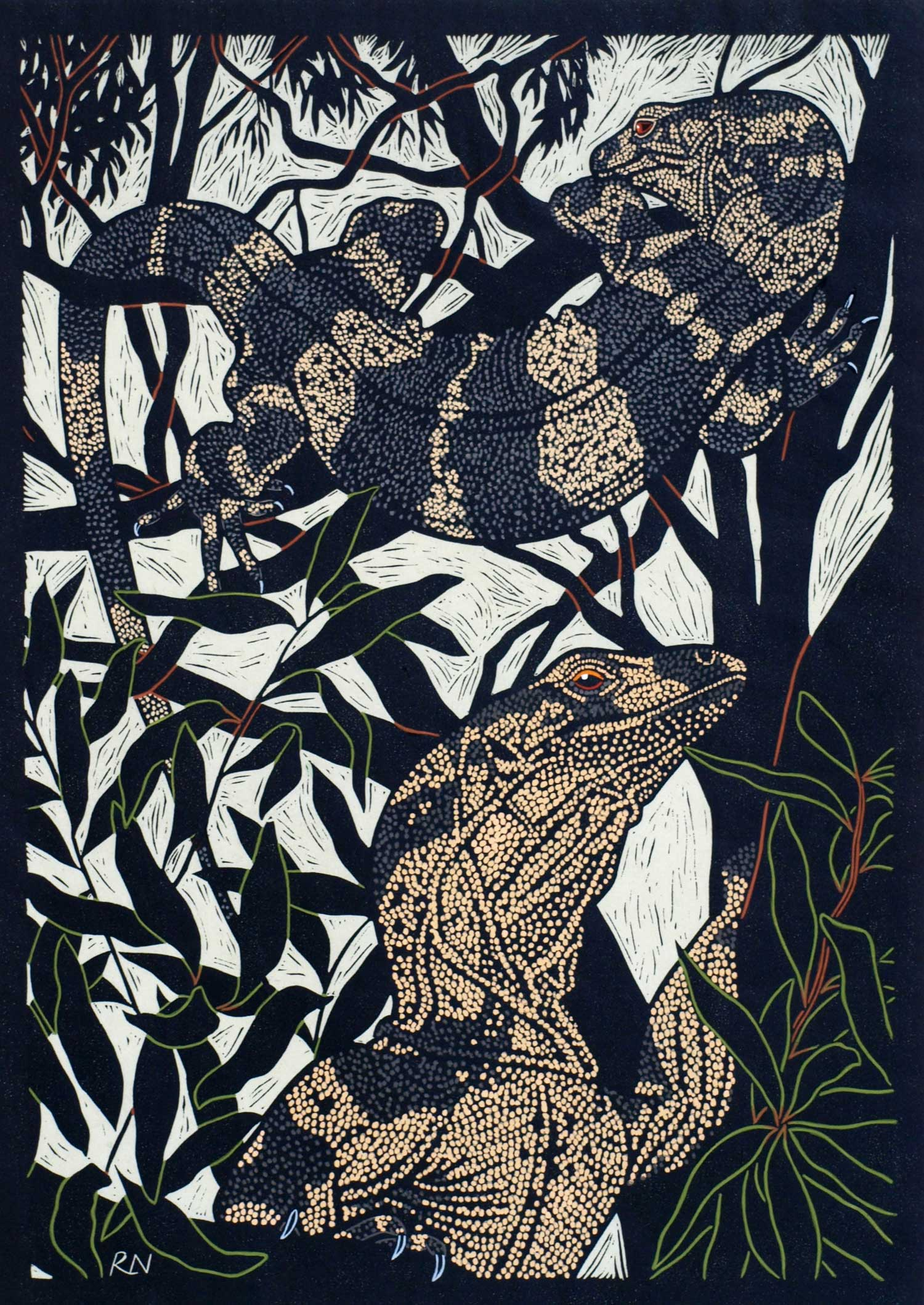 LACE MONITOR  49.5 X 35 CM EDITION OF 50  HAND COLOURED LINOCUT ON HANDMADE JAPANESE PAPER  $1,100