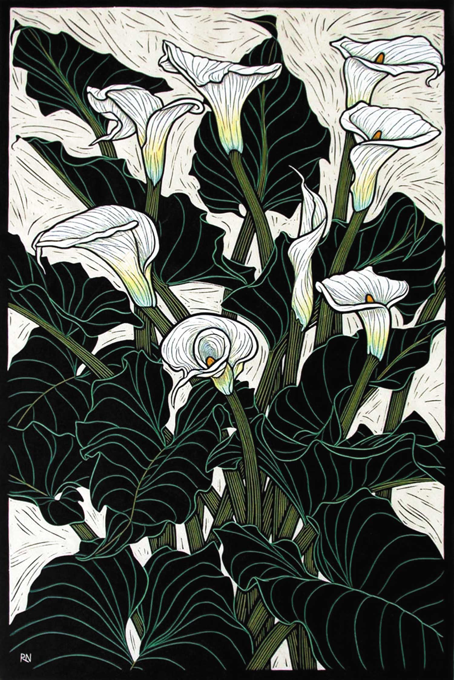 ARUM LILY  74.5 X 50 CM, EDITION OF 50  HAND-COLOURED LINOCUT ON HANDMADE JAPANESE PAPER  $1,550