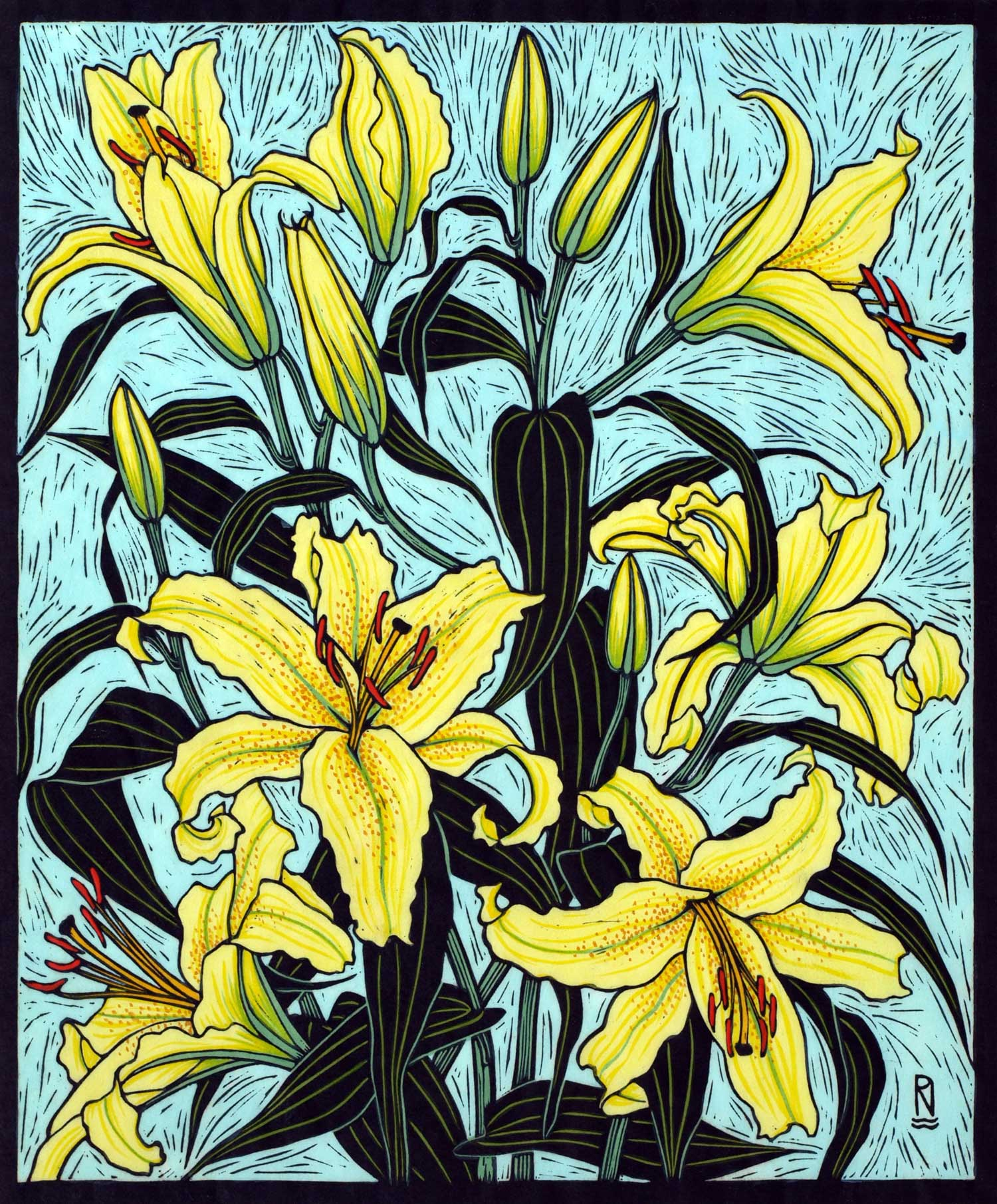 ORIENTAL LILY II  28 X 22 CM, EDITION OF 50  HAND-COLOURED LINOCUT ON HANDMADE JAPANESE PAPER  $1,100