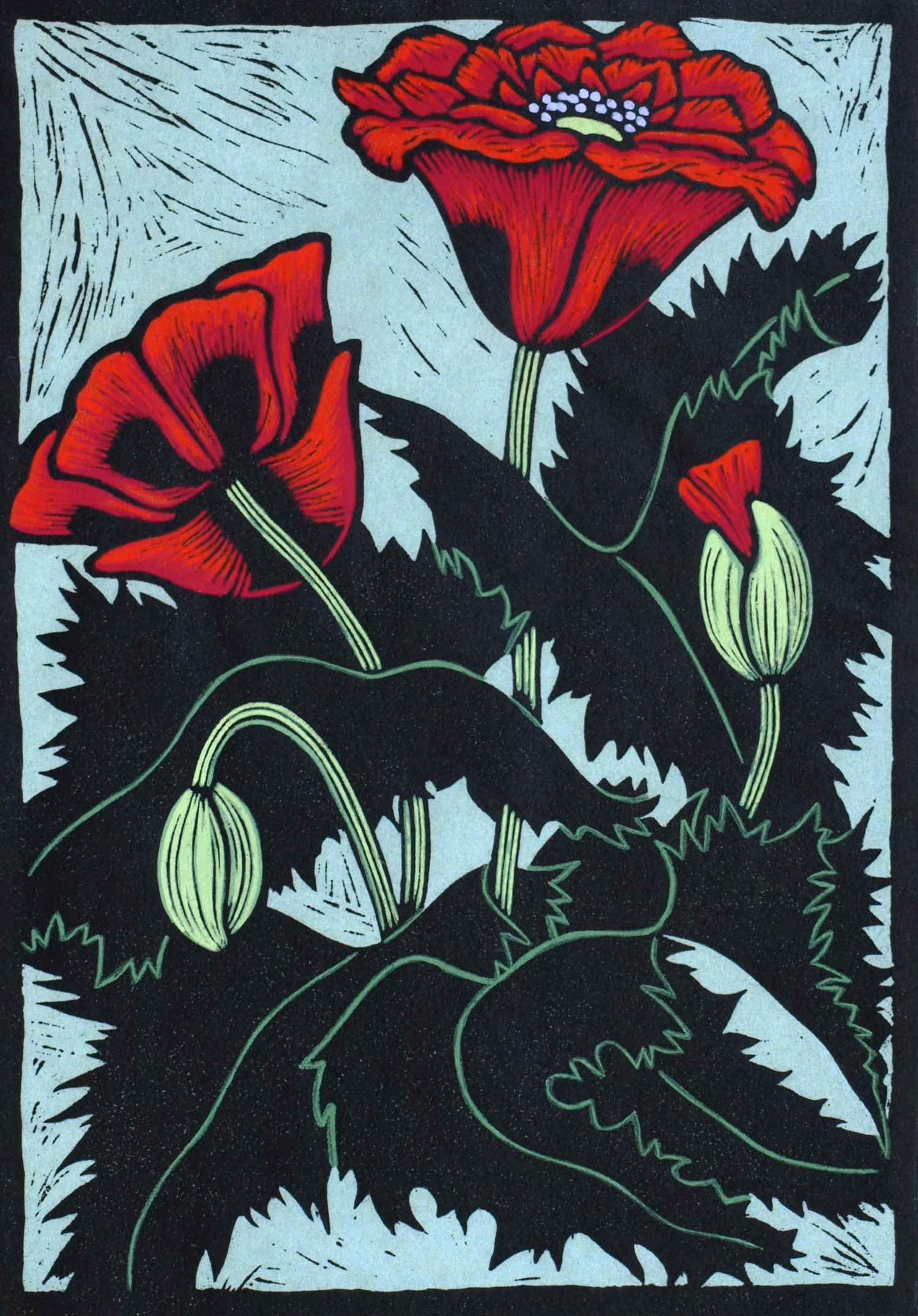 POPPY  25 X 17.5 CM, EDITION OF 50  HAND-COLOURED LINOCUT ON HANDMADE JAPANESE PAPER $600