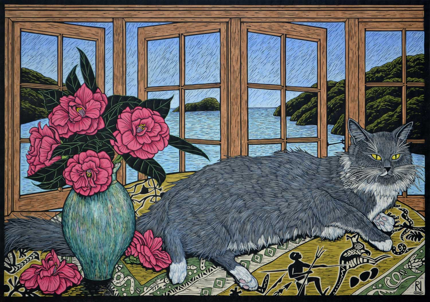 STILL LIFE WITH SQUIRREL  52 X 74.5 CM EDITION OF 50  HAND COLOURED LINOCUT ON HANDMADE JAPANESE PAPER  $1,700
