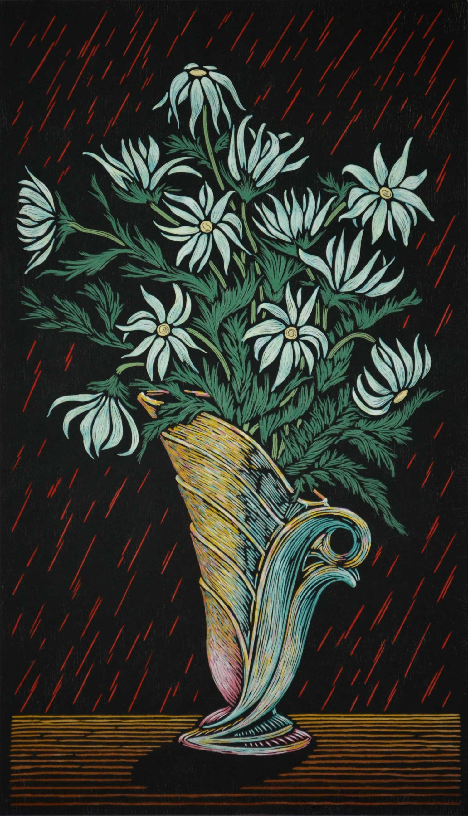 FLANNEL FLOWER IN VASE  75 X 43 CM EDITION OF 50  HAND COLOURED LINOCUT ON HANDMADE JAPANESE PAPER  $1,700