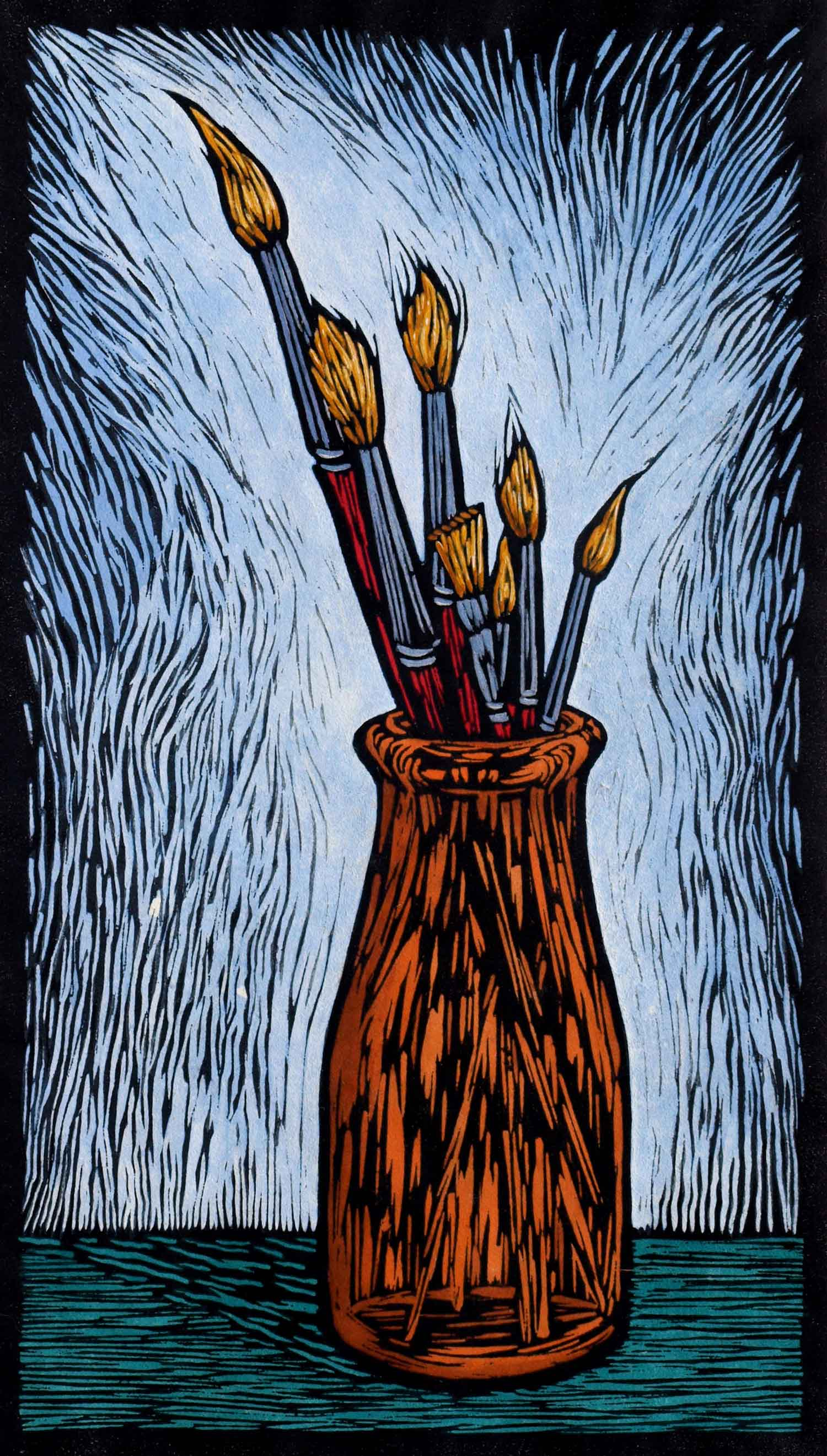 PAINT BRUSHES  35 X 19.5 CM EDITION OF 50  HAND COLOURED LINOCUT ON HANDMADE JAPANESE PAPER  $650