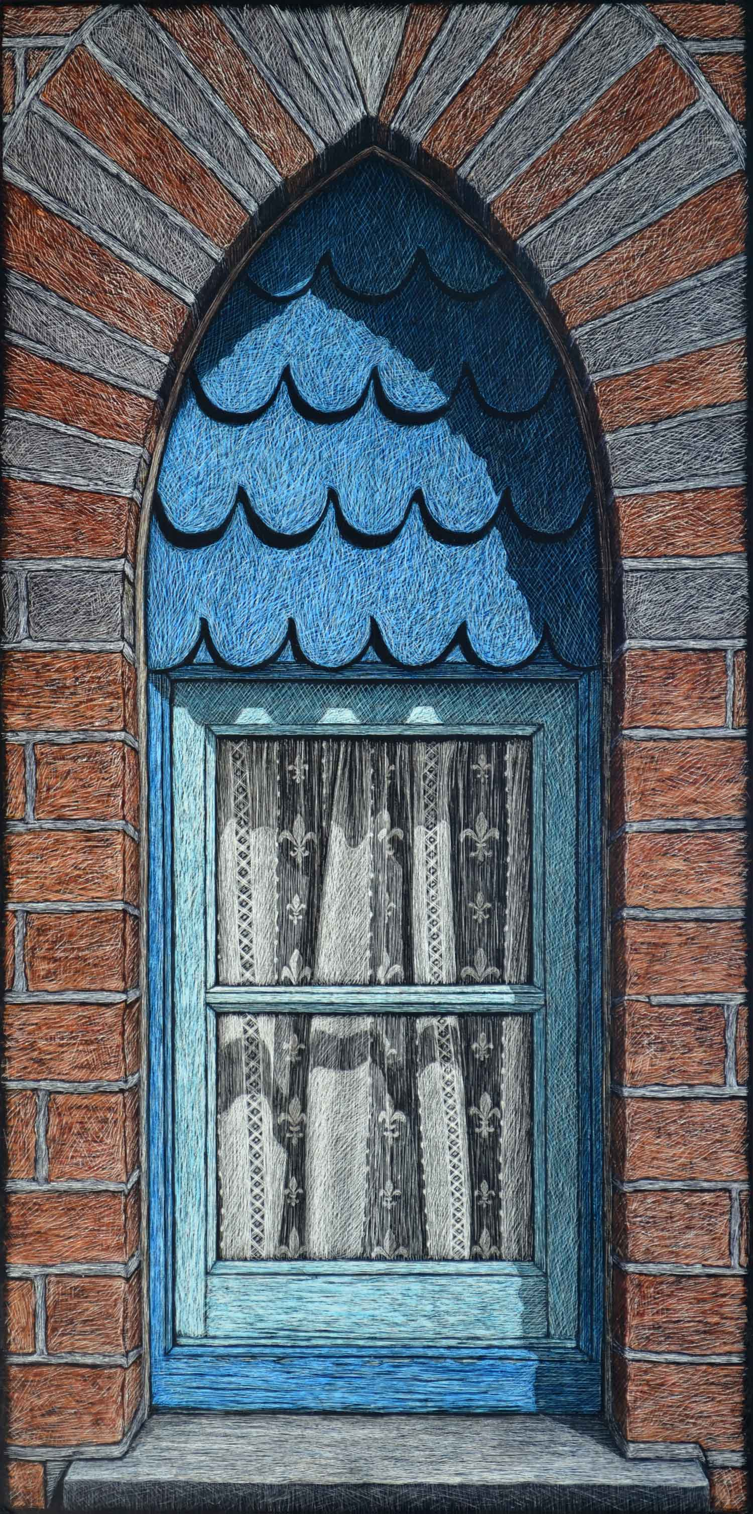 THE ALMS HOUSE WINDOW  61.5 X 30.5 CM  PIGMENT ON COTTON RAG PAPER  $1000 also available 84 x 42 cm $1,550