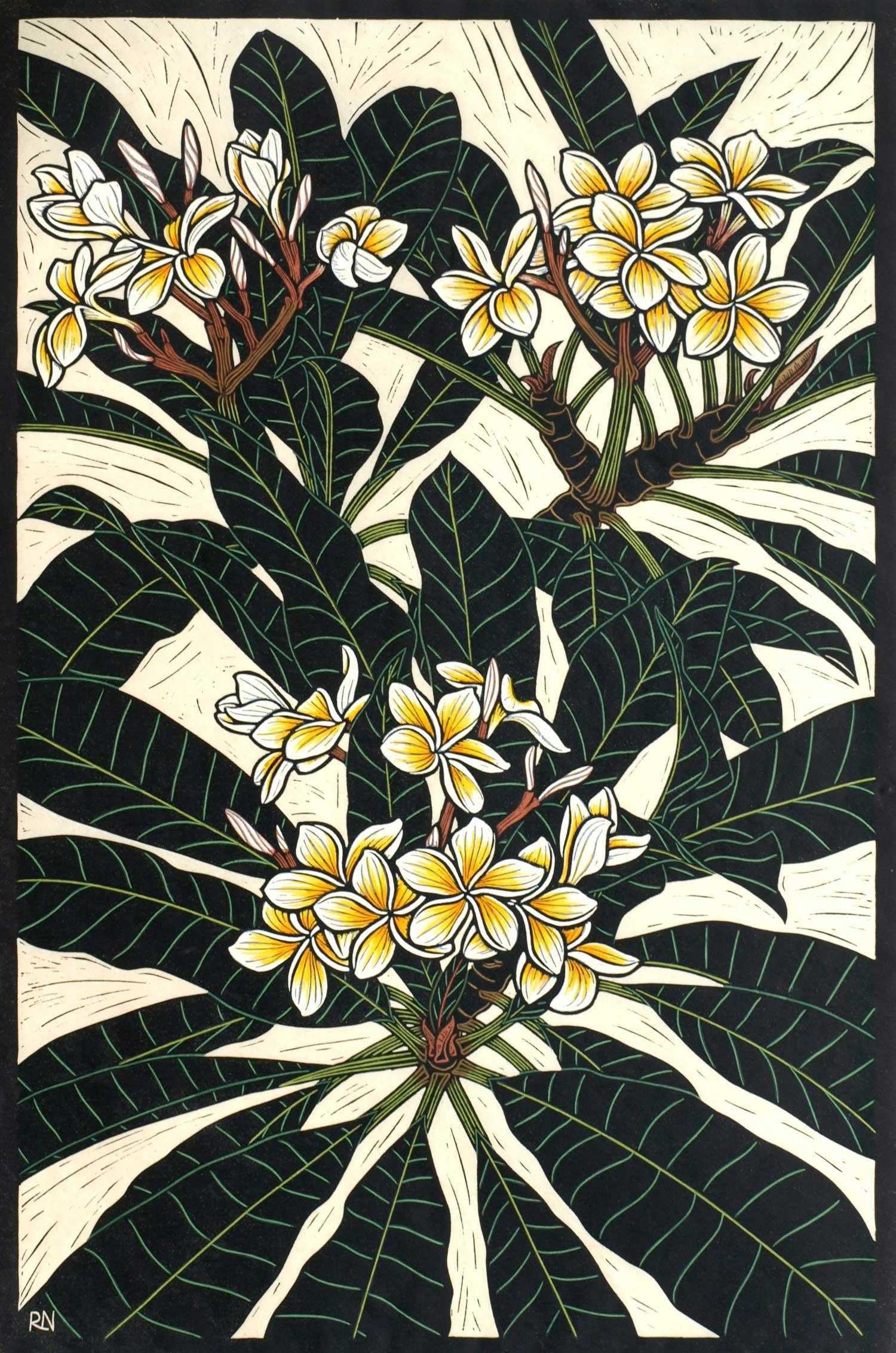 FRANGIPANI TREE  74.5 X 49.5 CM EDITION OF 50  HAND COLOURED LINOCUT ON HANDMADE JAPANESE PAPER  $1,550