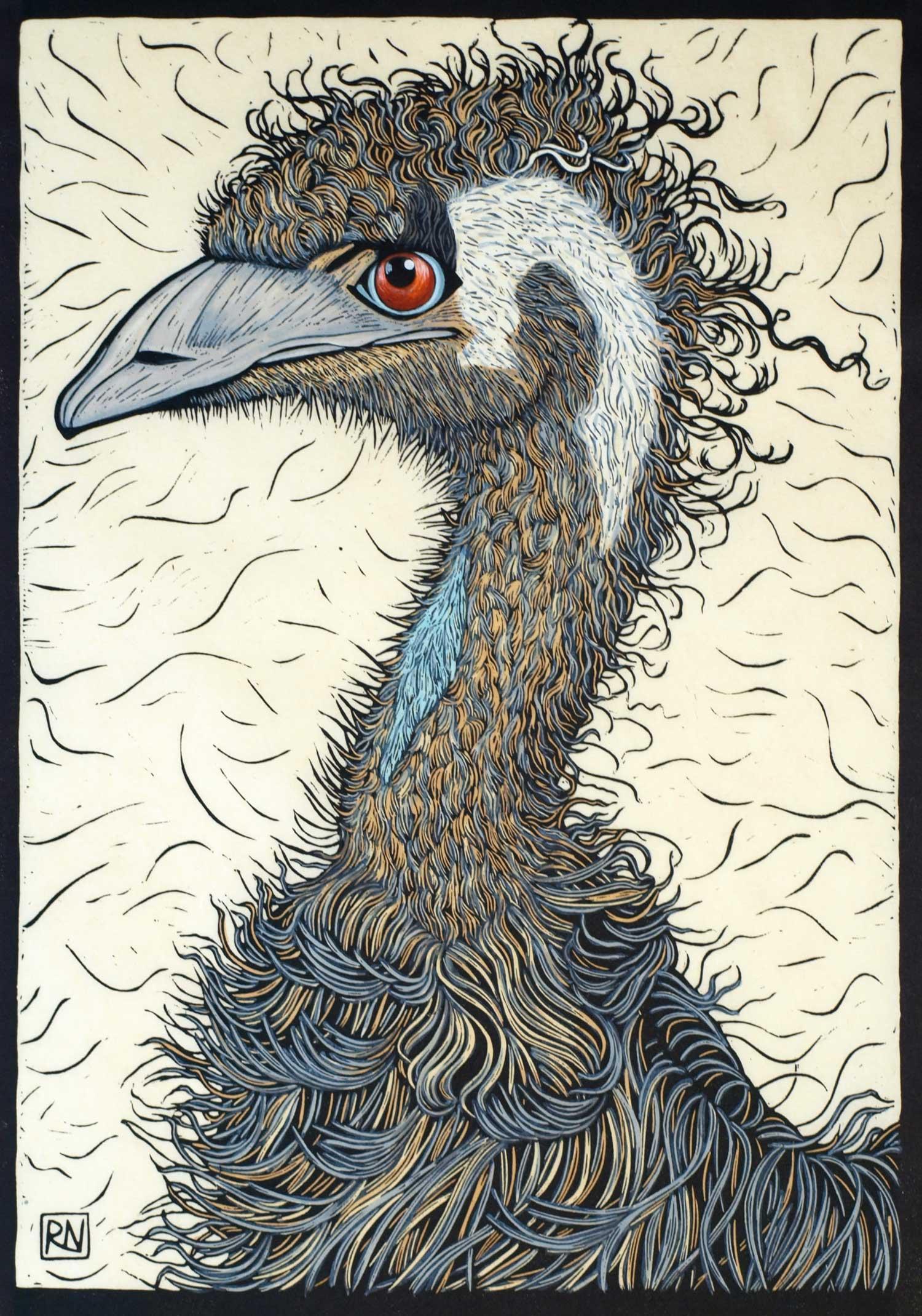 EMU  49 X 34 CM EDITION OF 50  HAND COLOURED LINOCUT ON HANDMADE JAPANESE PAPER  $1,100