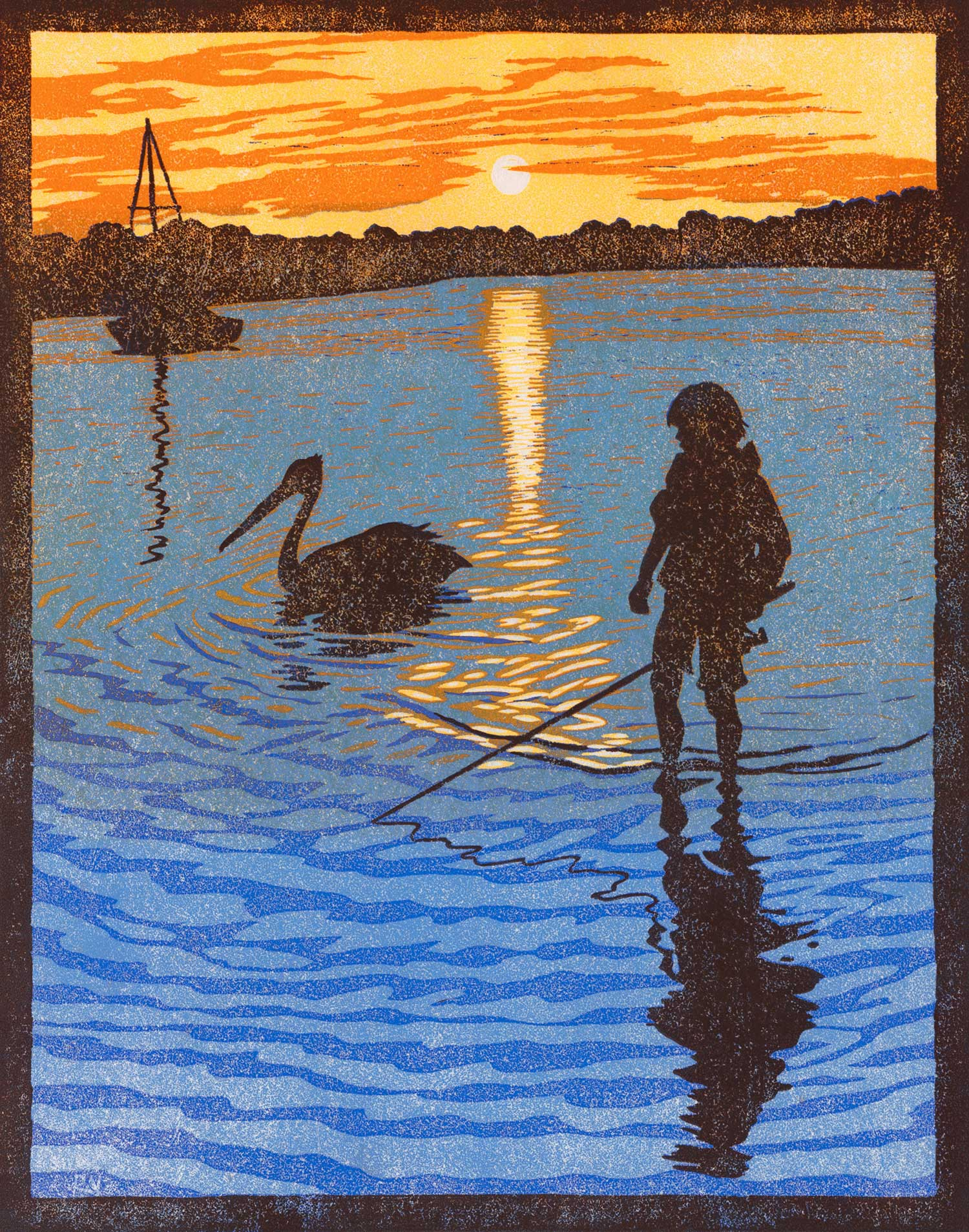 IN THE SHALLOWS  38.5 X 30 CM,  EDITION OF 50  pigment print of a reduction linocut on Japanese paper  $900