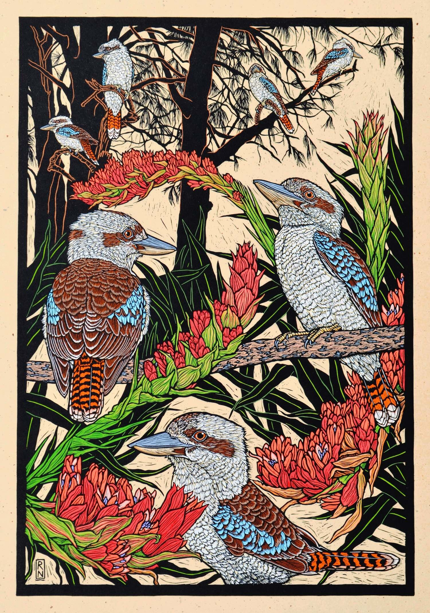 Kookaburra and Giant spear lily  75 x 51.5 cm, edition of 50  hand-coloured linocut on handmade japanese paper  $1,700