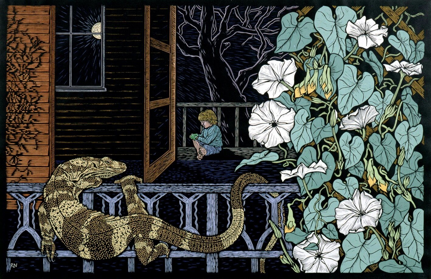 COMING HOME  86 X 55.5 CM, EDITION OF 50  HAND-COLOURED LINOCUT ON HANDMADE JAPANESE PAPER  $1,700