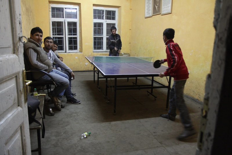 Table tennis with the local kids, it was quite a challenge to even come near their level. They were good!