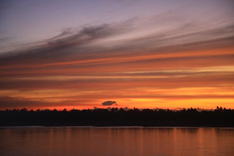 Sunset in Kratie, Cambodia.