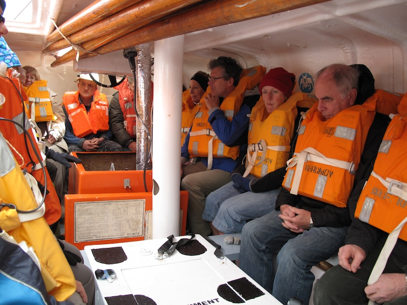 Testing out out lifeboats, each of the black spots is where a crew member would sit in a real situation.