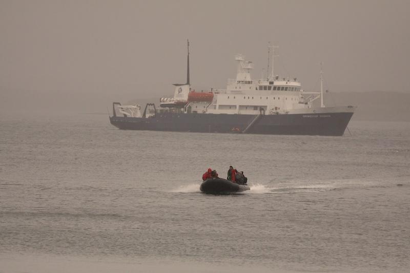 Heading ashore in the rain