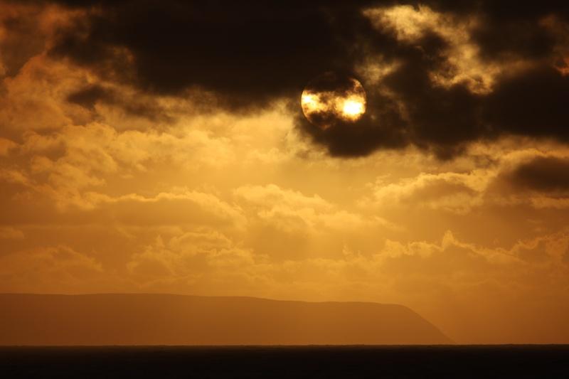 Macquarie island at sunset.