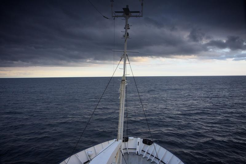 Heading south in amazingly calm seas.