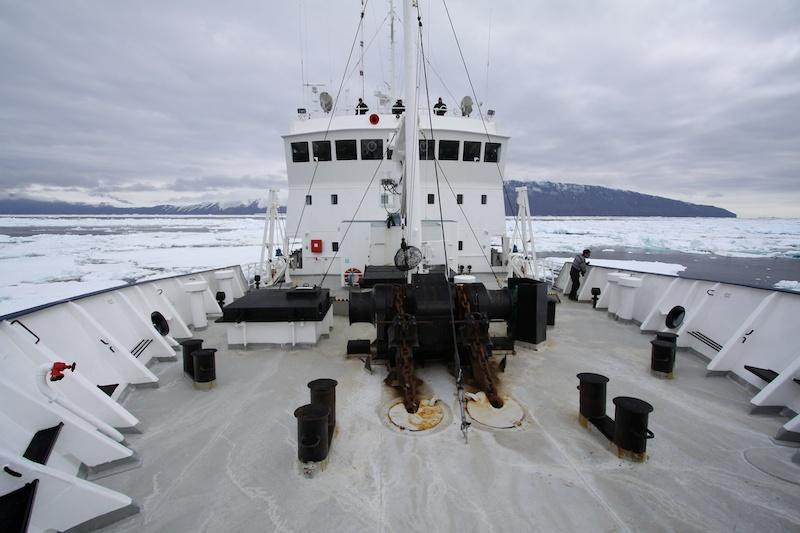 Pushing ice.