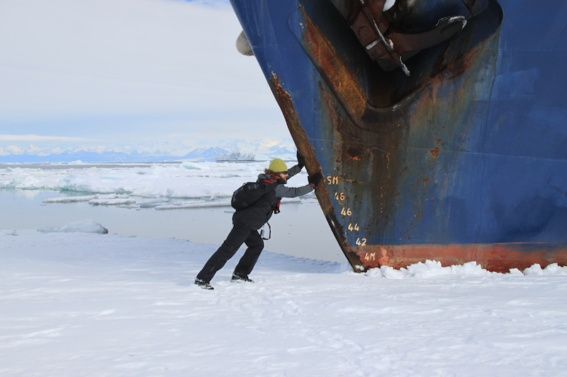 Re-floating the the boat after running up onto the ice sheet.