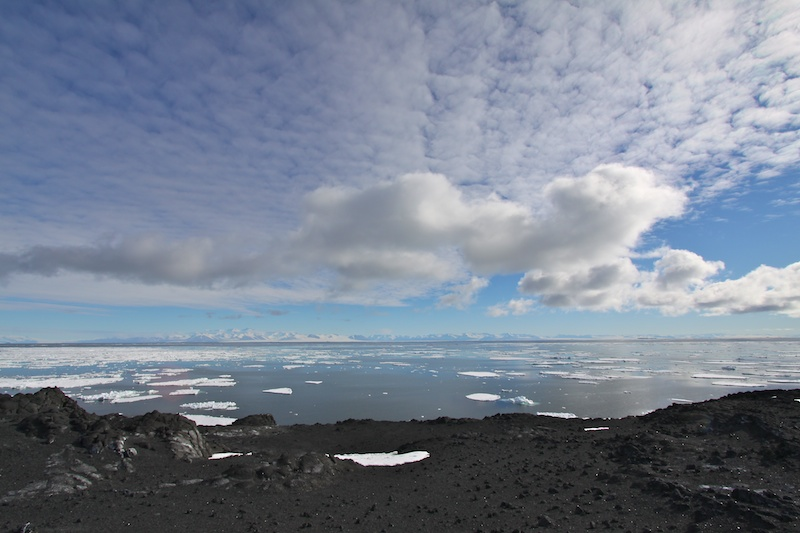 Look to the Transantarctic mountains from Cape Royds.