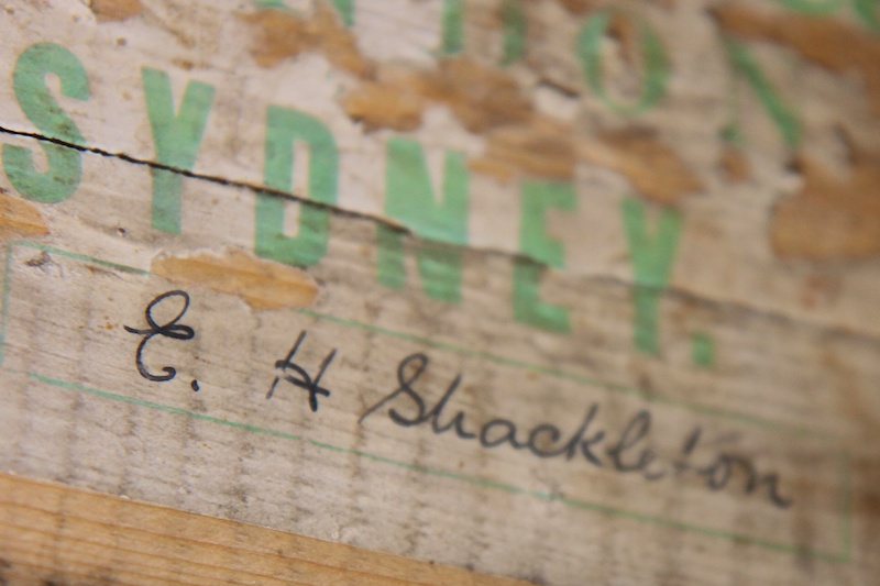Shackleton's signature on the end of his bed.