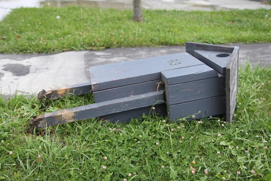 Mailbox just broken off at Anna's.