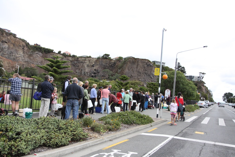 Residents waiting for water at Redcliffs.