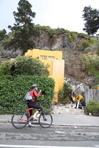 A beautiful house, seriously damaged by falling rocks.