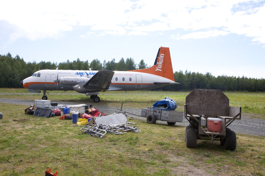 Packing to head home on a charter flight back to Whitehorse.