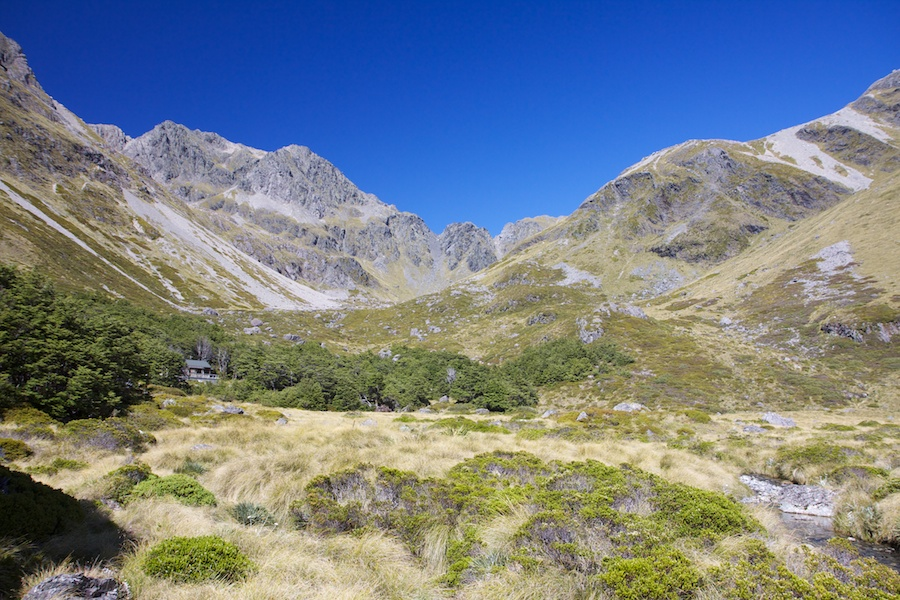 Climbing up to Upper Travers Hut