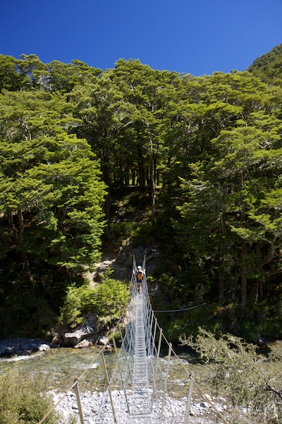 The swing bridge to Boyle Flat hut.