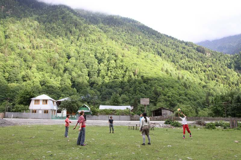 Football with the local kids.
