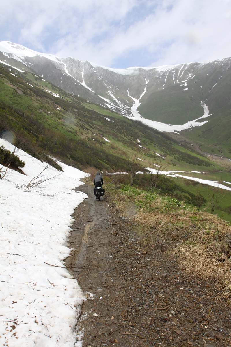 And down down down into lower Svaneti. Plenty of snow along the way.
