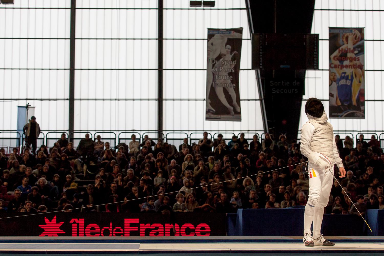 Joueur allemand attendant la décision d'unjuge. Challenge international de Paris, 27 janvier 2013. © Sébastien Borda