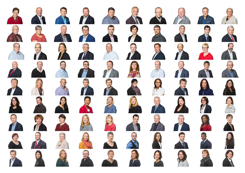Exemple de portraits sous forme de trombinoscope réalisé dans les locaux d'une entreprise. © Sébastien Borda. www.sebastienborda.com