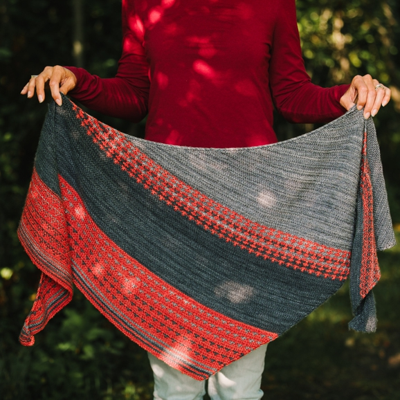 Jill Bigelow-Suttell's After the Storm Shawl.   Photo Credit: Meg Simpson Photography