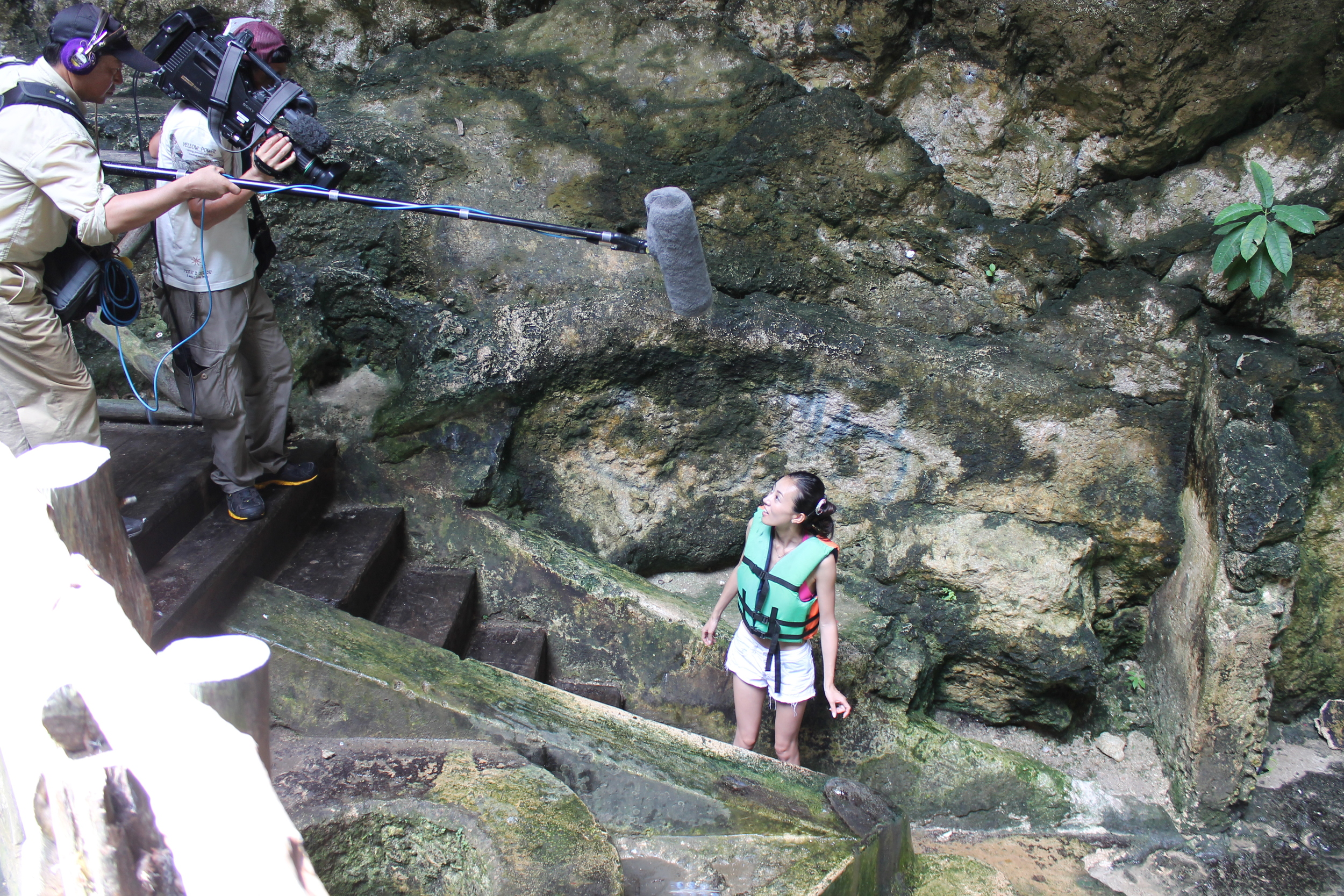 Japanese Film Crew in the Chelentun Cenote