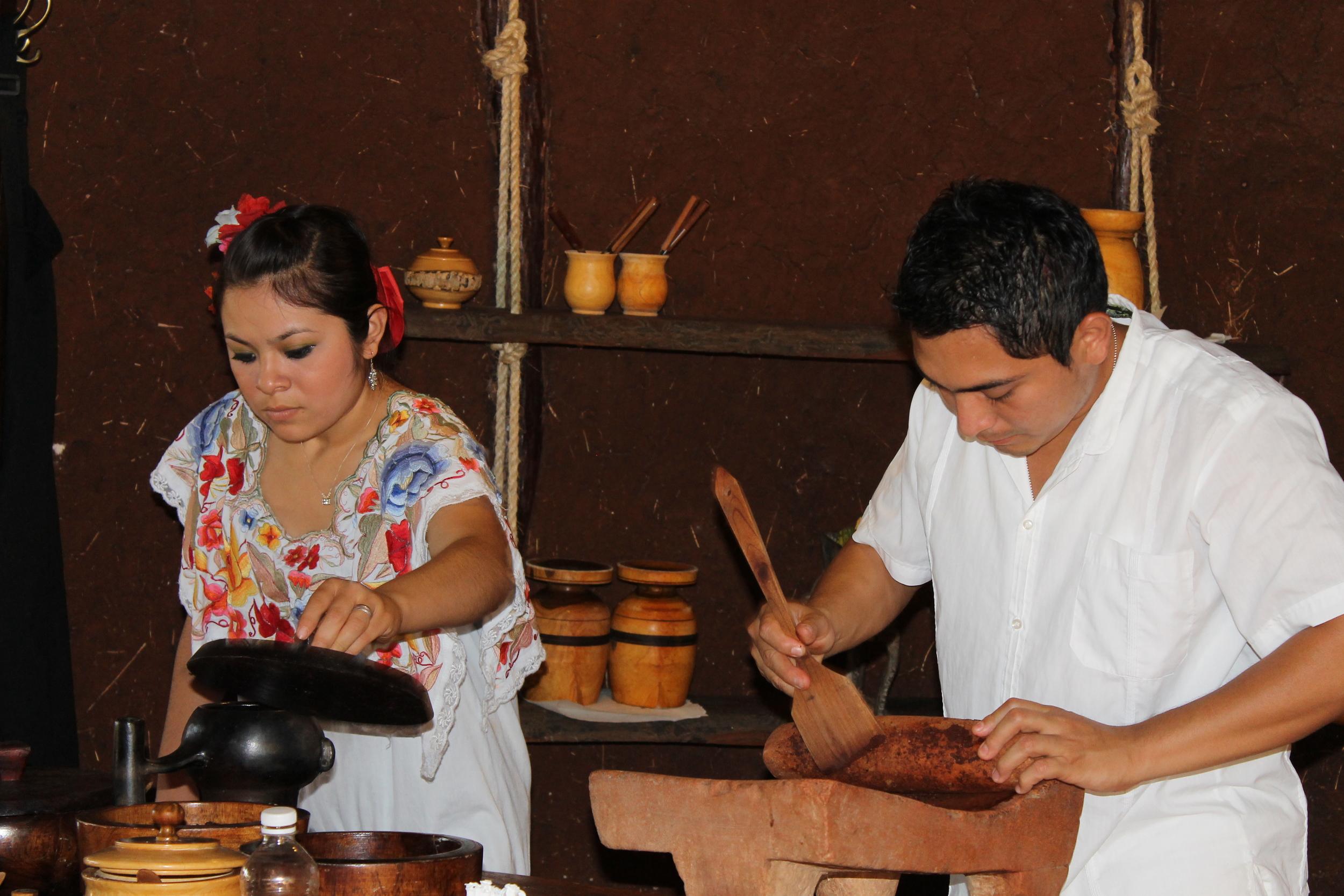 Cindy and Edgar preparing drinking chocolate
