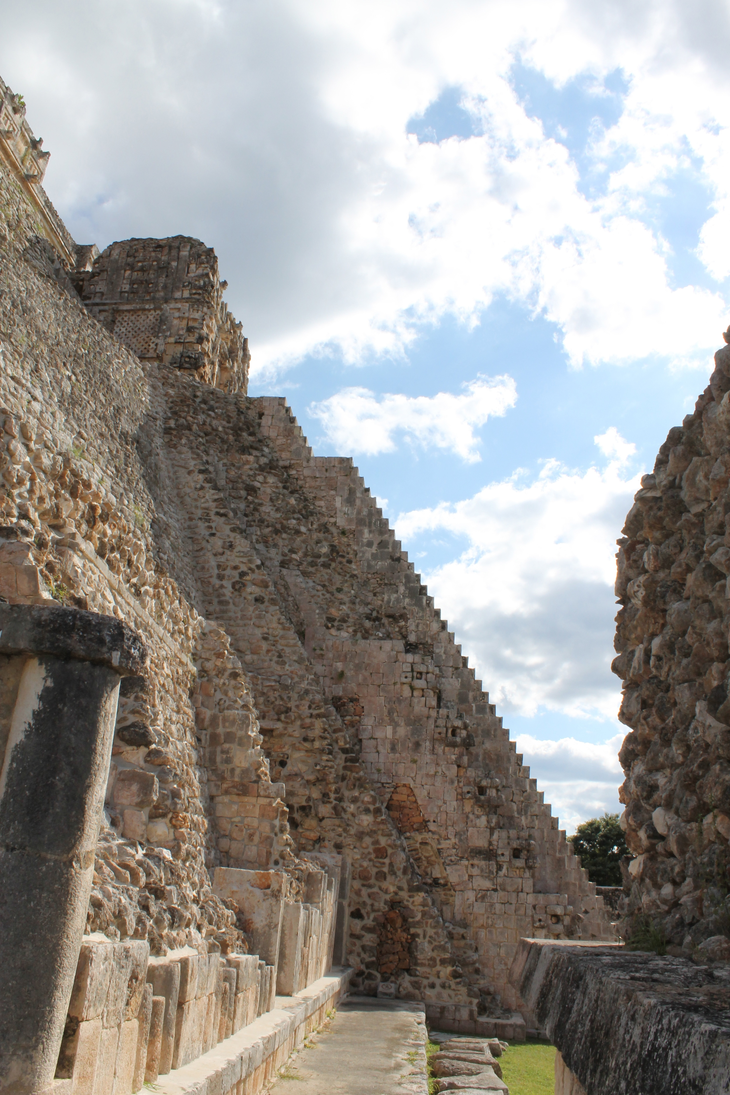 The pyramid of the Magician, from the side, at Uxmal