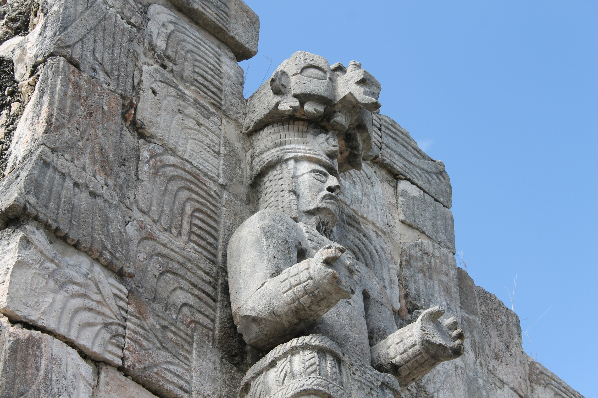 This is one of several carved figures you can see at Kabah, just down the road from Uxmal