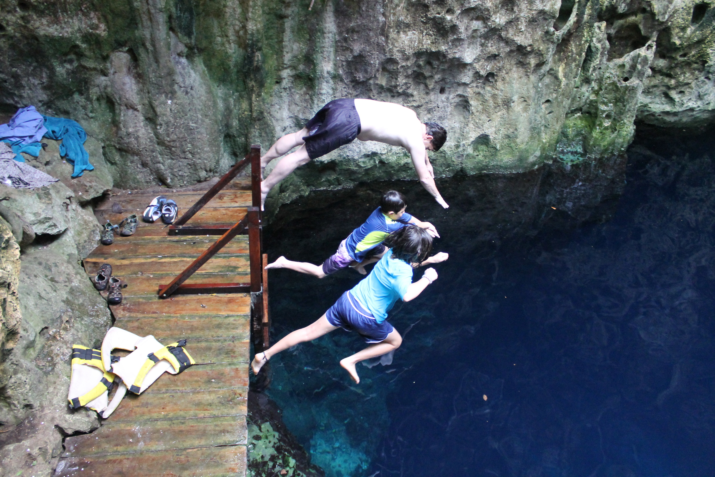 This cenote is near the Mayapan Mayan ruins - one of three in the immediate area that are off-road adventures getting to them.  Photo R. Hollmann
