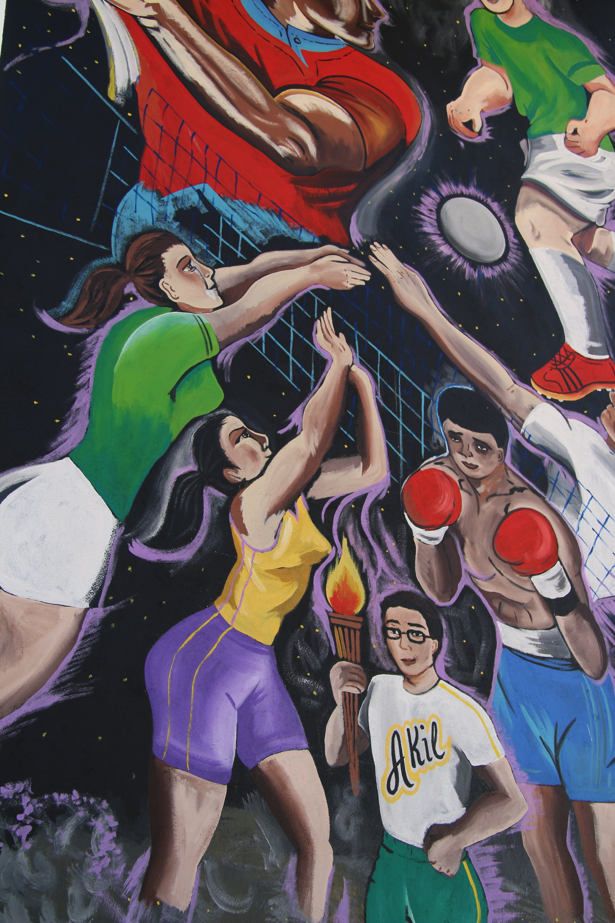 Mural detail - homage to the athletes of Akil