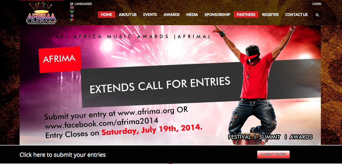 The All Africa Music Awards, AFRIMA, in partnership with African Union Commission, has  extended  the call for entries for the 2014 edition by two weeks, from  July 5 to July 19, 2014 . Submission of entries for the continental award project aimed at showcasing the culture of Africa and rewarding the music talents, had opened on May 15, 2014 and closed on July 5, 2014.      Going by the enthusiastic response of African music professionals and journalists who have flooded the AFRIMA website with entries from across the continent and from Africans in the Diaspora, the International Committee of AFRIMA was under pressure from the African music and media industry to extend the closing date to accommodate the late entrants who are eager to be part of the award process but are constrained by limited internet access in their various cities.    * Eligibility: Music professionals of African origin living either on the continent or abroad are eligible. The award is open to Artistes, Songwriters, Video Directors, Music Producers and Music Journalists as well as unrecorded artistes.        Entries will close on Saturday, July 19 at 12.00 a.m. UTC  (Universal Time Coordinated). The entry guidelines remain as before on AFRIMA website: www.afrima.org. Format of submission:  Only musical or journalistic works released or published in the year under review- May 31, 2013 to July 18, 2014  are eligible for submission.      Entries should be done by completing the registration form on AFRIMA website and other AFRIMA social media platforms.   * Entry Registration link is also available on Twitter:  @AFRIMAWARDS  and  Facebook  :        A French, Portuguese and Arabic version of the entry form is available on AFRIMA's Facebook page. A URL link of the uploaded work on YouTube ONLY must be included in the space provide on the entry registration form.      For hard copy entries, download the registration form and the completed copy alongside two copies of the entry must be sent to the neare