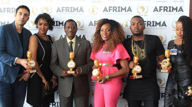 L-R: Ahmed Soultan (Morocco) Winner Best Male Artist in North Africa, Tsedenia (Ethiopia) nominee Best African Contemporary ommissioner for Social Affairs, African Union Commission, Dr. Mustapha Sidiki Kaloko; Best Female Artiste in Southern Africa, Cindy Munyavi (Zimbabwe), Winner, 2014 Album of the Year, Olamide, (Nigeria) and Laurette La Perle (DRC) during the AUC-AFRIMA joint conference held at the African Union Secretariat, Addis Ababa, Ethiopia on April 29, 2015.