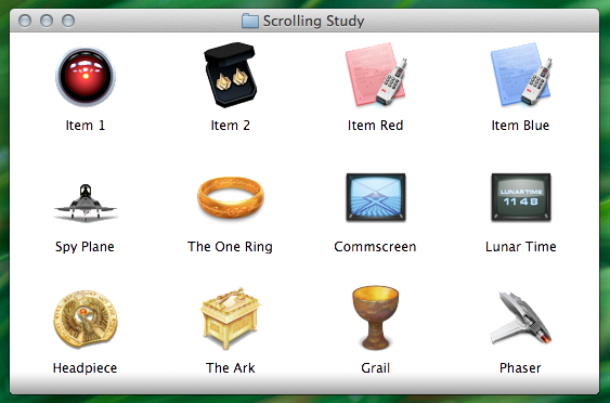 A Finder window demonstrating it can be scrolled downwards
