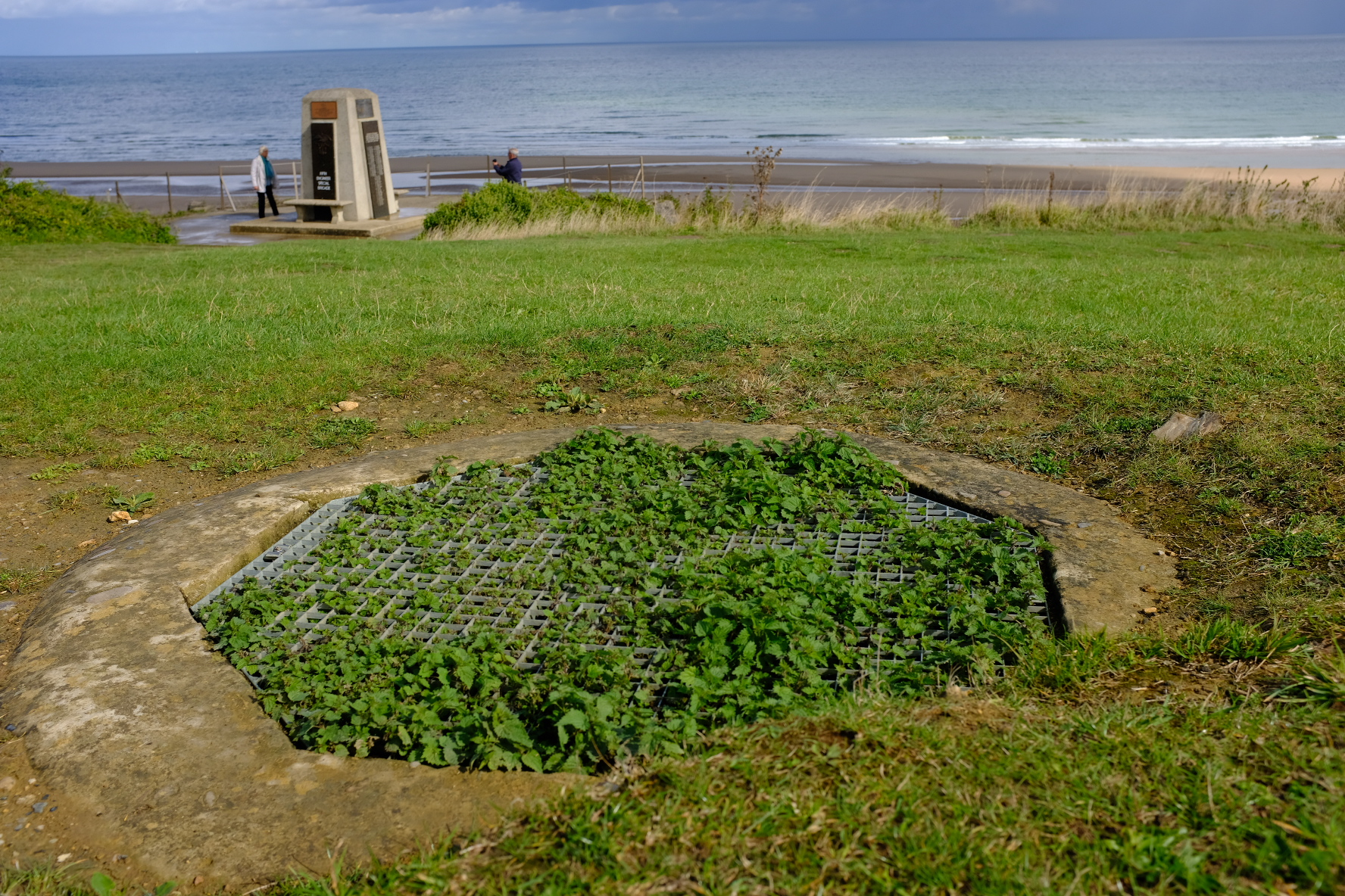 One of the many Nazi machine gun nests tucked in the bluff above Omaha beach at Colleville-sur-mer.
